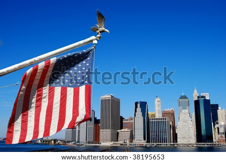 American flag and eagle with Manahttan skyline