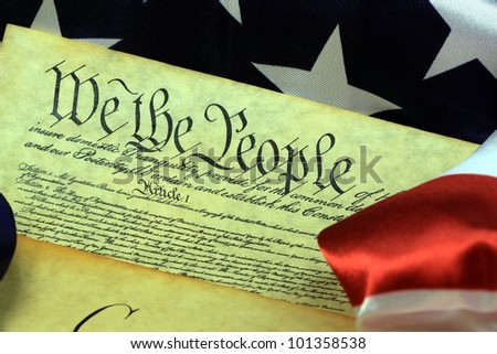 American Flag and Preamble to the Constitution of the United States