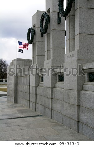 American Flag and the World War II Memorial in Washington DC