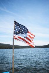 American Flag at lake