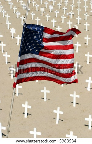 American flag at the cemetery