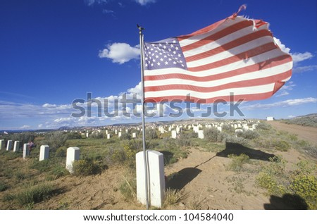 American flag at the Navaho cemetery, Fort Defiance, AZ