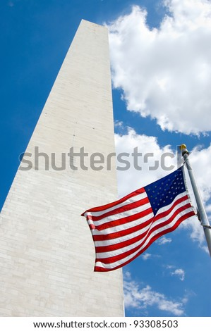 American flag blowing at the Washington Monument in Washington DC