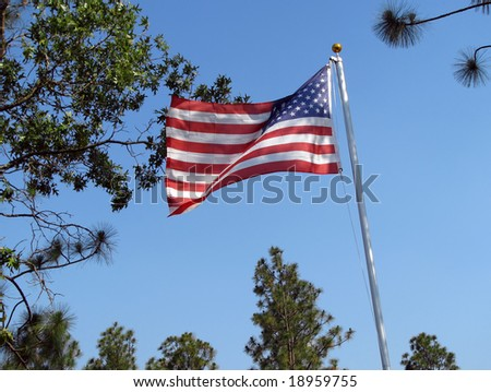 American flag blowing in the gentle breeze
