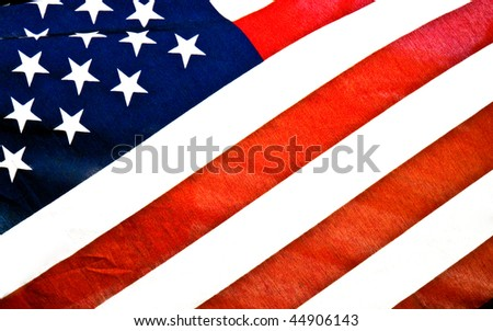 American Flag blowing in the wind closeup photograph of stars and stripes. Great background with room for text.