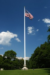 american flag blows in the wind at the top of a white flag pole against a rich blue sky surrounded by trees and grass