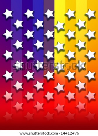 American flag composed with Primary color gradient.  Stars flooding a saturated background