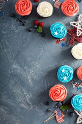 American flag cupcakes, red, blue and white dessert for 4th of July