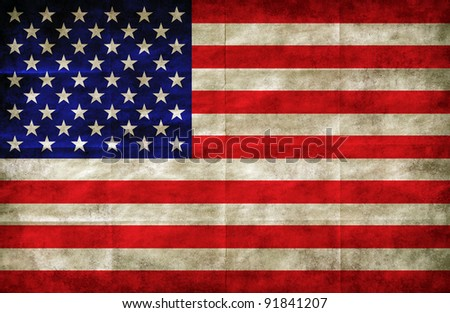 american flag drawn on the grunge paper - stock photo