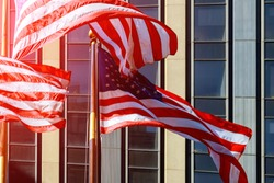 American flag during Independence Day view at Manhattan - New York City NYC - United States of America