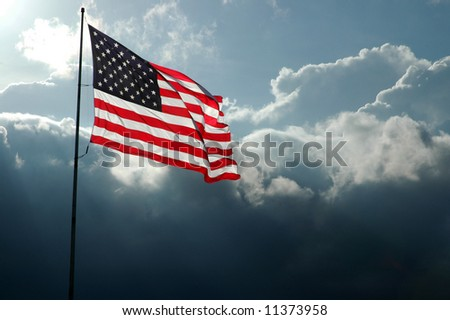 American Flag Flies Before a Stormy Sky