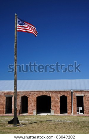 American Flag Flies over Fort Taylor, Key West, Florida