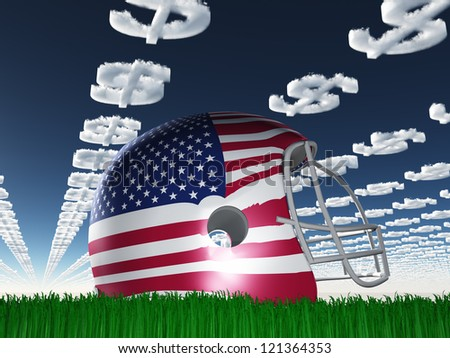 American FLag Football Helmet on Grass with Dollar Symbol Clouds