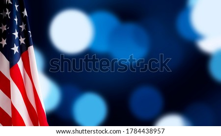 American flag for Memorial Day, 4th of July or Labour Day, blue background, panorama, copy space
