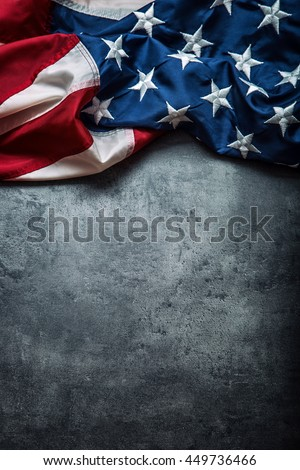 American flag freely lying on concrete board. #449736466