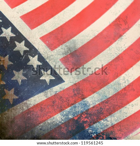 American flag, grunge background