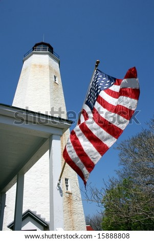 American Flag Hanging by Sandy Hook Lighthouse