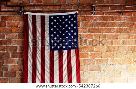 American Flag Hangs On Wall Images And Stock Photos Avopix Com
