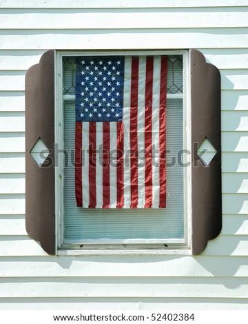 American flag hanging window