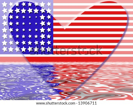 American flag heart in red white and blue stripes with water