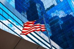 American flag in Boston downtown Massachusetts USA