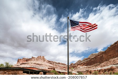 american flag in capitol reef...