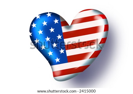 american flag in love - with path - heart collection