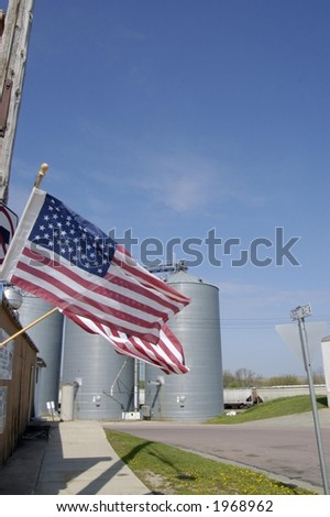 American Flag in Midwest Town