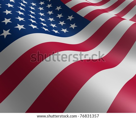 American flag in motion curving the shape of the stars and stripes representing patriotism and pride.