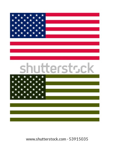 American flag in normal and eco green colors, isolated on white background.