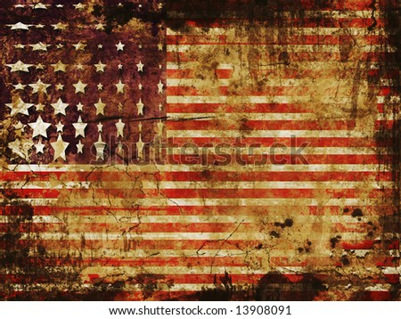 American flag in red, white and blue stripes with antique grunge texture