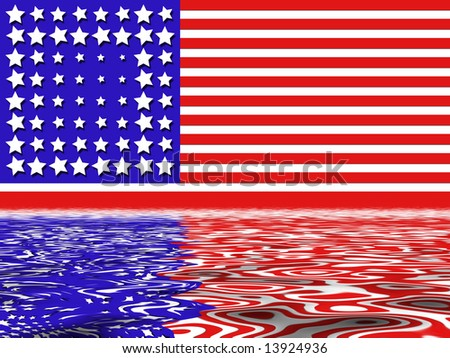 American Flag In Red White And Blue Stripes With Water