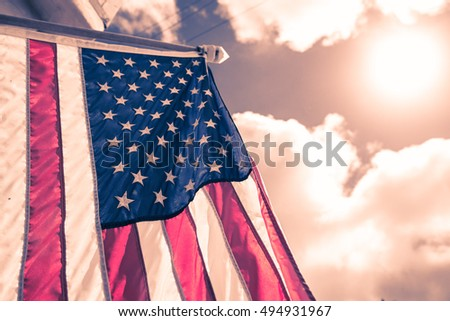 american flag in red white...