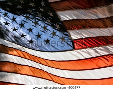 American Flag Lights American Flag in Sunset Light