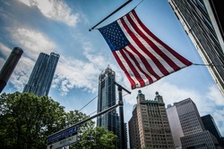 American Flag in the street of New York City.