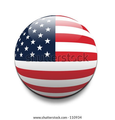 American flag in the style of a ball - stock photo