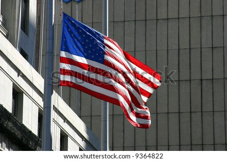 American Flag In Urban Setting PHOTO ID: AmericanFlag00002