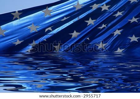american flag in water