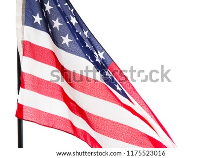 American flag isolated on white background. Object close up #1175523016
