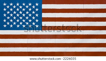american flag - large flag in grunge look as painted on a wall