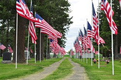 American flag lined gravel road through cemetery with graves and flowers on both sides in the eastern part of Washington State. Tombstones and Doug firs