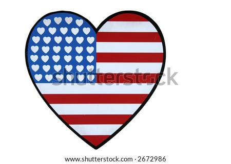 American Flag of Hearts - Isolated on White Background