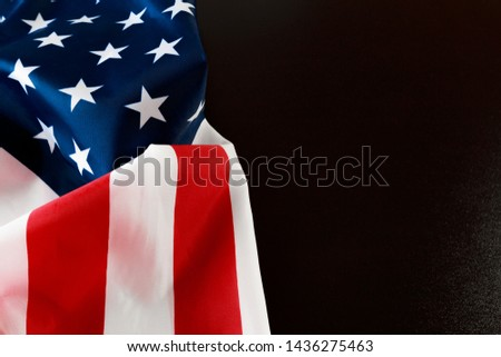 American flag on a black  background  top view - Image  #1436275463