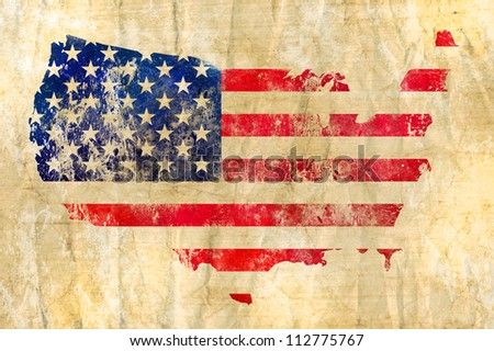 American flag on a map of the USA