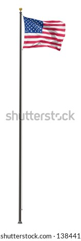 American flag on a pole, isolated on a white background