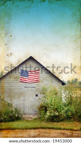 American flag on a rural shed with a grunge background.