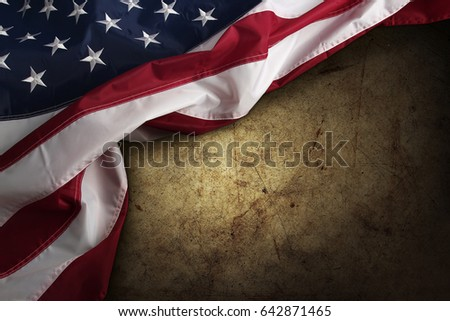 american flag on brown...