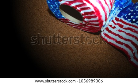 American flag on brown background  for Independence Day in the USA on Tissue art #1056989306