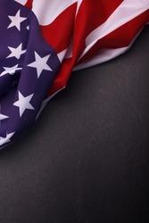 American flag on dark background. Usa Memorial Day.