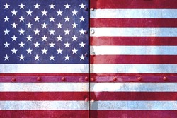 American flag on metal panels with rivets metal background. 3d